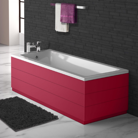 Planked Style Red 2 Piece adjustable Bath Panels